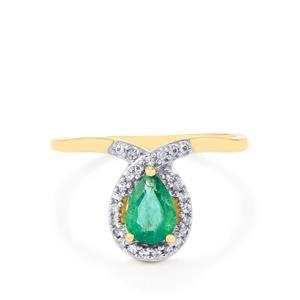 Zambian Emerald & Ceylon White Sapphire 10K Gold Ring ATGW 0.71cts