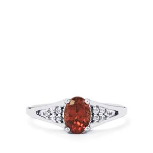 Bekily Colour Change Garnet & White Zircon 9K White Gold Ring ATGW 1cts