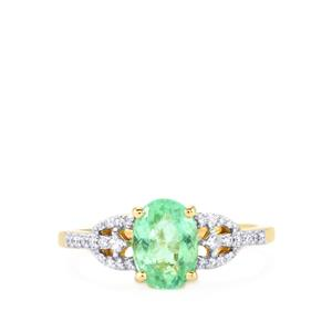Paraiba Tourmaline Ring with Diamond in 18K Gold 1.55cts