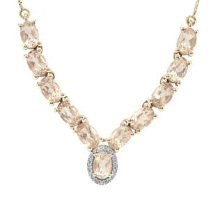Oregon Peach Sunstone Necklace with Diamond in 9K Gold 4.80cts