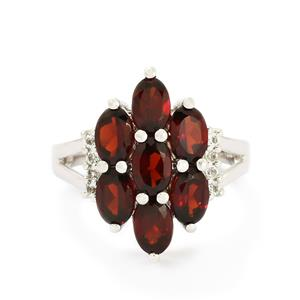 Rajasthan Garnet & White Topaz Sterling Silver Ring ATGW 4.04cts