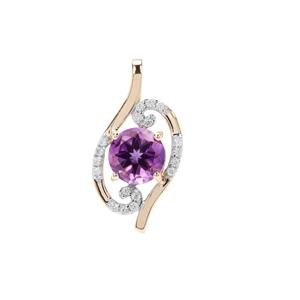 Moroccan Amethyst Pendant with White Zircon in 9K Gold 1.97cts