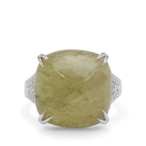 Grossular Ring with White Zircon in Sterling Silver 20.60cts