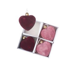 Red & Pink Glass Velvet Heart Set