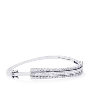 Diamond Oval Bangle in Sterling Silver 3.10cts