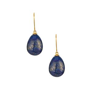 Lapis Lazuli Earrings in Gold Tone Sterling Silver 30.55cts