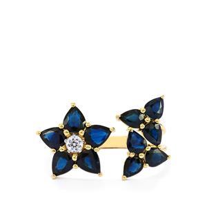 Australian Blue Sapphire & White Zircon 10K Gold Ring ATGW 3.59cts
