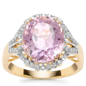 Mawi Kunzite Ring with Diamond in 18K Gold 7cts