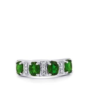 Chrome Diopside Ring with Diamond in Sterling Silver 1.53cts