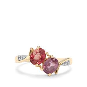 Padparadscha Sapphire & Diamond 9K Gold Ring ATGW 1.79cts