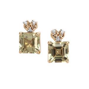 Asscher Cut Csarite® & Diamond 9K Gold Tomas Rae Earrings ATGW 2.56cts