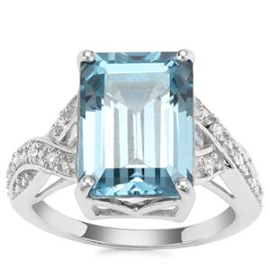 Versailles Topaz Ring with White Zircon in Sterling Silver 9.66cts