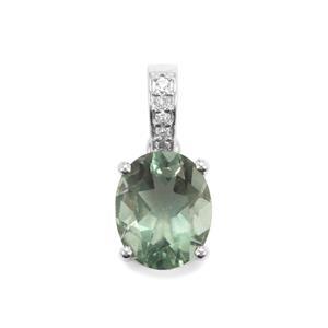 Green Fluorite & White Topaz Sterling Silver Pendant ATGW 3.10cts