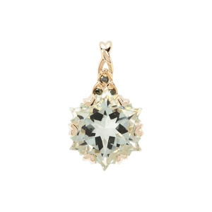 Wobito Snowflake Cut Prasiolite Pendant with Green Diamond in 9K Gold 4.10cts