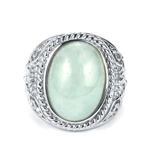 13.81cts Genuine Jade Sterling Silver Ring