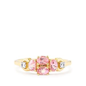 Natural Pink Spinel & White Zircon 9K Gold Ring ATGW 0.89cts