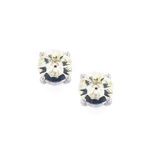 Lehrer KaleidosCut White Quartz Earrings with Ceylon Sapphire in 10K White Gold 3.38cts