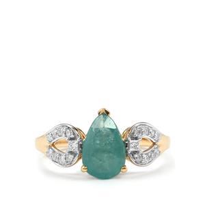 Grandidierite & Diamond 18K Gold Tomas Rae Ring MTGW 1.42cts
