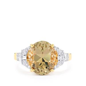 Csarite® Ring with Diamond in 18k Gold 4.59cts