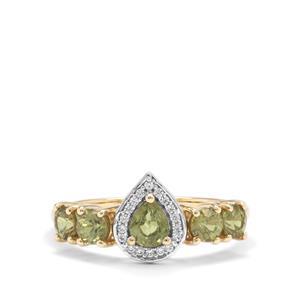 Ambanja Demantoid Garnet & White Zircon 9K Gold Ring ATGW 1.30cts