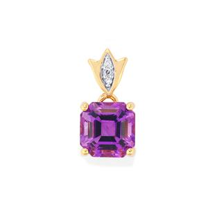 Moroccan Amethyst Pendant with Diamond in 10k Gold 2.30cts