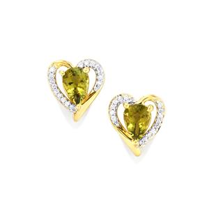 Cuprian Tourmaline Earrings with Diamond in 18K Gold 1.46cts