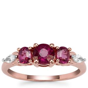 Comeria Garnet Ring with White Zircon in 9K Rose Gold 1.75cts