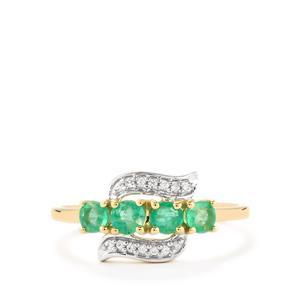 Zambian Emerald & White Zircon 9K Gold Ring ATGW 0.65cts