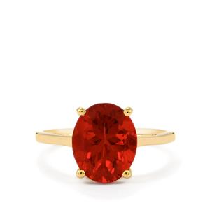 2.66ct Tarocco Red Andesine 9K Gold Ring