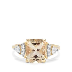 Serenite Ring with White Zircon in 9K Gold 3.28cts
