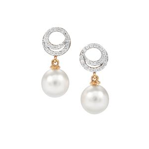 South Sea Cultured Pearl Earrings with Diamond in 18k Gold (8mm x 7mm)