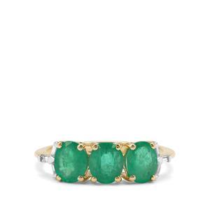 Siberian Emerald & White Zircon 9K Gold Tomas Rae Ring ATGW 2.06cts