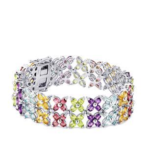 Kaleidoscope Gemstones Bracelet in Sterling Silver 30.82cts