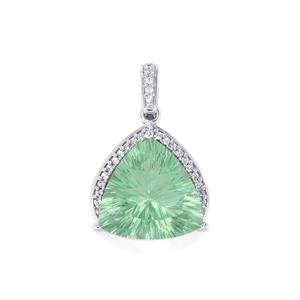 Natural Tucson Green Fluorite & White Topaz Sterling Silver Pendant ATGW 14.43cts