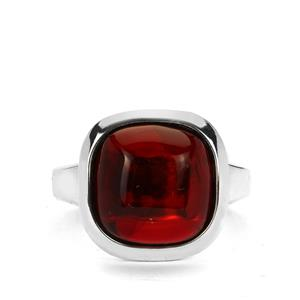 Baltic Cherry Amber (12x12mm) Sterling Silver Ring