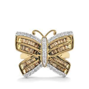 1.25ct Champagne & White Diamond 10K Gold Tomas Rae Ring