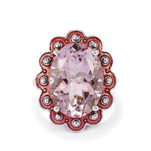 11.37ct Rose De France Amethyst Sterling Silver Enamel Ring