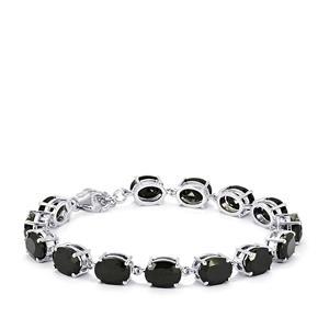 34.58ct Black Spinel Sterling Silver Bracelet