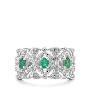 Zambian Emerald & Diamond Sterling Silver Ring ATGW 0.49cts