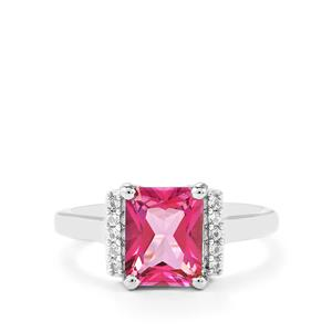 2.76ct Mystic Pink & White Topaz Sterling Silver Ring