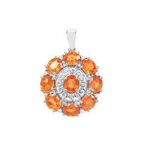 Mandarin Garnet Pendant with Zircon Zircon in Sterling Silver 9.06cts