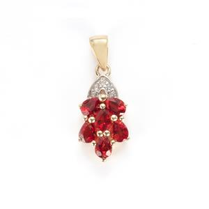 Winza Ruby Pendant with White Zircon in 9K Gold 1.36cts
