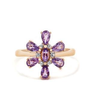 Purple Sapphire & White Zircon 9K Gold Ring ATGW 1.79cts