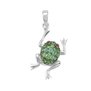 Zambian Emerald, Tsavorite Garnet Pendant with Rhodolite Garnet in Sterling Silver 0.39ct