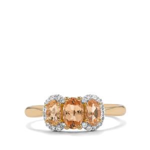 Ouro Preto Imperial Topaz & White Zircon 10K Gold Ring ATGW 1.19cts