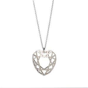 Two Tone Sterling Silver Textured Heart Slider Necklace