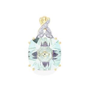 Lehrer KaleidosCut Sky Blue Topaz, Ametista Amethyst Pendant with Diamond in 10K Gold 6.77cts