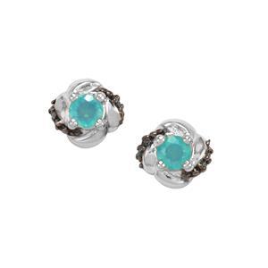 Ethiopian Paraiba Blue Opal & Blue Diamond Sterling Silver Earrings ATGW 0.34cts