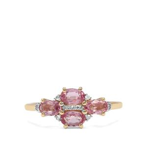 Sakaraha Pink Sapphire & Diamond 9K Gold Ring ATGW 1.17cts