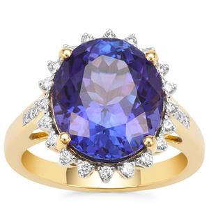 AAA Tanzanite Ring with Diamond in 18K Gold 7.87cts
